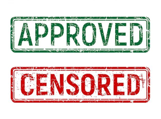 Sello aprobado y censurado vintage verde y rojo con efecto grunge girado sobre fondo aislado.