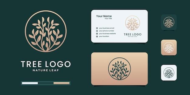 Sello de árbol de lujo, insignia o logotipo de marco de círculo con estilo elegante.