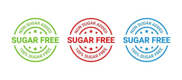 Sello sin azúcar. sin etiqueta de azúcar añadido. etiqueta engomada redonda diabética. marca de insignia certificada