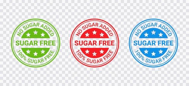 Sello sin azúcar. etiqueta redonda sin azúcar añadido. insignia de huella diabética. marcas de sellos verdes, rojas y azules