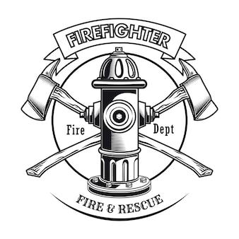 Sello de bombero con ilustración de vector de hidrante. hachas cruzadas y texto del departamento de bomberos.