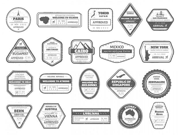 Sello de caché de viaje. sellos de pasaporte de viaje vintage, visa internacional marca llegada. conjunto de iconos de marcos de sello de frontera aérea de japón, singapur y australia