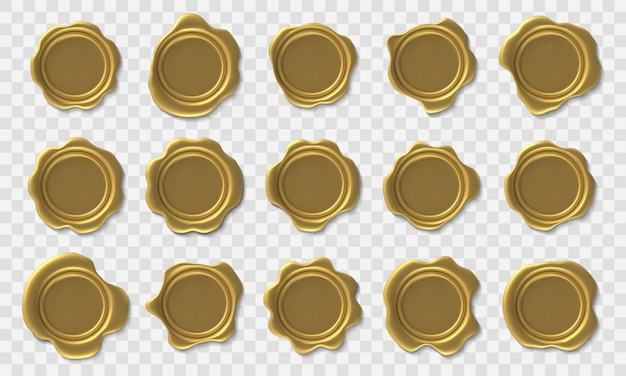 Sello de cera dorada. sello retro de sobres, sellos de cera de aprobación real de oro premium y certificado de franqueo de seguridad y conjunto de iconos de diploma de élite