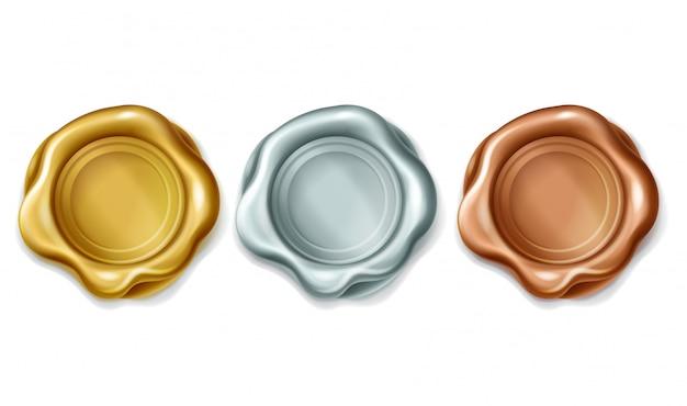 Sello de cera de oro, plata y bronce