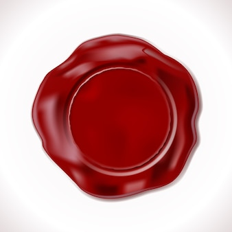 Sello de cera roja perfecto aislado