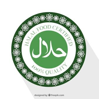 Sello de comida halal moderno con diseño plano