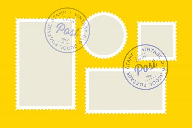 Sello de correos. conjunto de estampillas, colección cuadrado, círculo