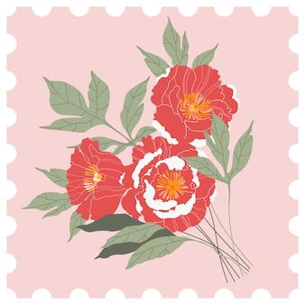 Sello de correos florales. ramo de peonía rosa y rojo sobre un fondo rosa. tarjeta de felicitación dibujada a mano en estilo de un sello de correos. ilustración moderna para web e impresión.