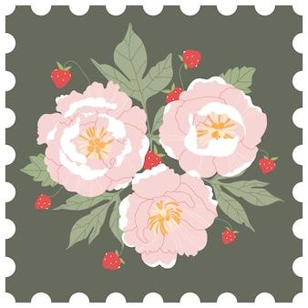 Sello de correos florales. ramo de peonías rosas y fresas silvestres sobre un fondo verde. tarjeta de felicitación dibujada a mano en estilo de un sello de correos. ilustración moderna para web e impresión.