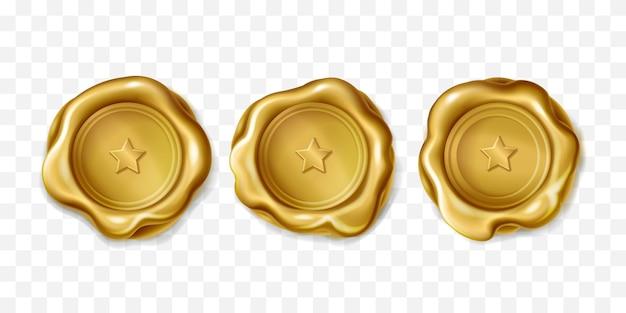 Sello de élite de oro con una estrella por letra.