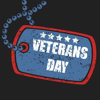 Sello de etiqueta de perro militar del día de los veteranos