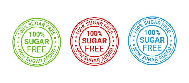 Sello de goma sin azúcar. icono sin azúcar añadido. ilustración vectorial.