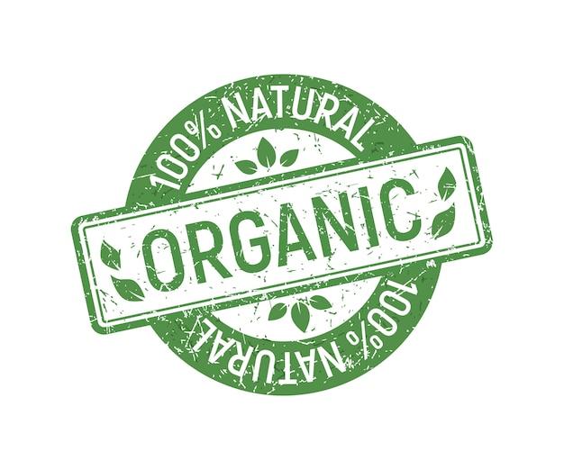 Sello de goma orgánica, estilo natural ecológico verde en sello de goma grunge.