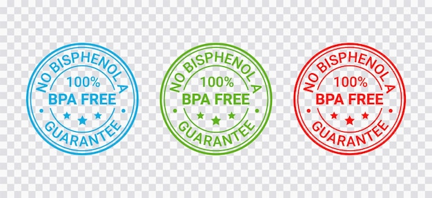 Sello libre de bpa. emblema de plástico no tóxico. etiqueta de embalaje ecológico. ilustración vectorial.