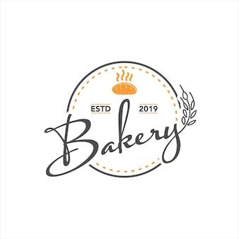 Sello de logotipo de vector de panadería vintage simple