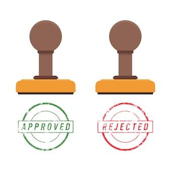 Sello de madera y marca de sello con texto aprobado y rechazado