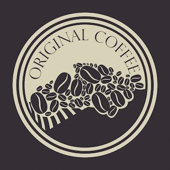 Sello original de café con granos de café.