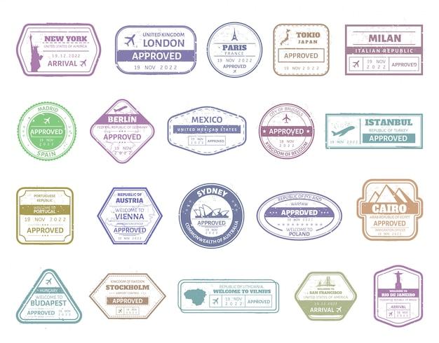 Sello de pasaporte vintage marca de identificación del aeropuerto, pasaporte, visa, sellos internacionales. conjunto de marcos de sello de frontera de estados unidos, reino unido, francia, italia, japón y españa. señales de llegada de viaje