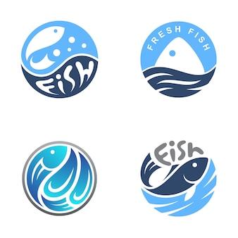 Sello de pescado / logotipo del emblema