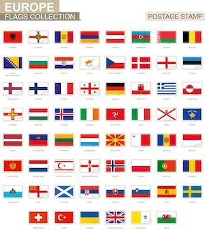 Sello postal con banderas de europa. conjunto de 62 bandera europea. ilustración de vector.