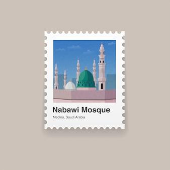 Sello de postal de hito de medina