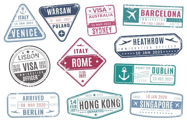 Sellos de aeropuerto. la visa del pasaporte del viaje de la vendimia de la inmigración llegó sello con textura grunge. conjunto de vectores aislados