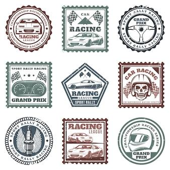 Sellos de carreras deportivas de coches antiguos con inscripciones, automóviles, volante, salpicadero, calavera, casco, bujía, banderas