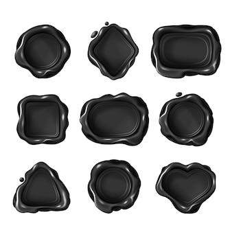 Sellos de cera en blanco negro de diferentes formas geométricas