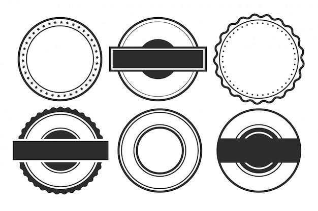 Sellos circulares vacíos en blanco o conjunto de etiquetas de seis