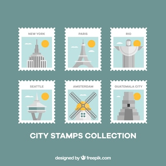 Sellos de ciudades fantásticos con detalles amarillos