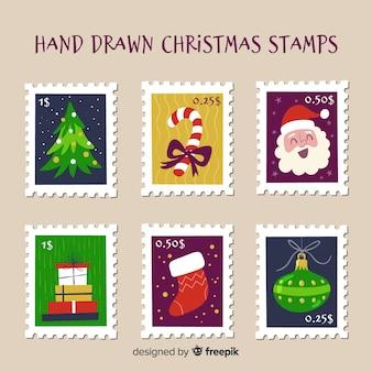 Sellos de correos navideños dibujado a mano