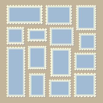 Sellos de diferentes tamaños en azul y blanco
