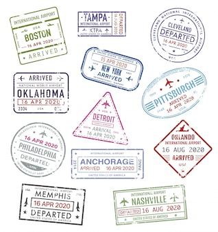Sellos de ee. uu., pasaporte, visa de viaje, aeropuerto de ee. uu.
