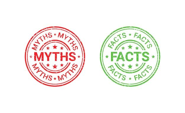 Sellos de goma del grunge del mito del hecho. ilustración vectorial.