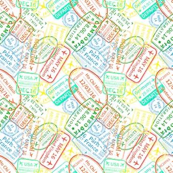 Sellos de inmigración coloridos brillantes sobre fondo blanco, de patrones sin fisuras
