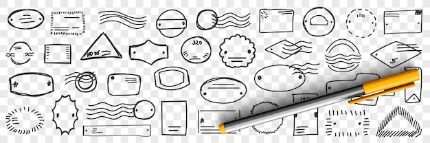 Sellos y letras doodle set