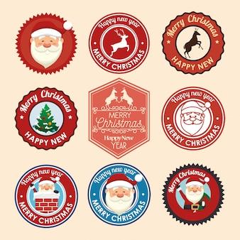 Sellos de navidad con conjunto de iconos