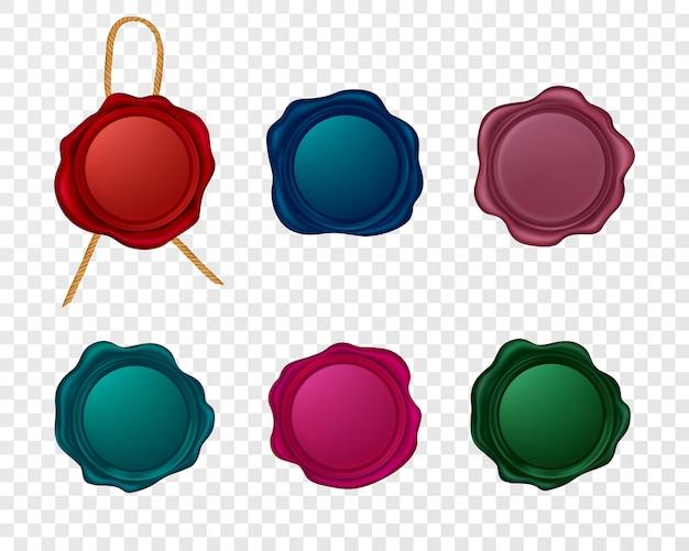 Sellos o sellos de cera multicolores realistas