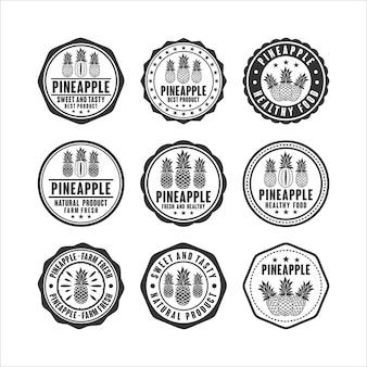 Sellos de placa colección de diseño de vector de piña