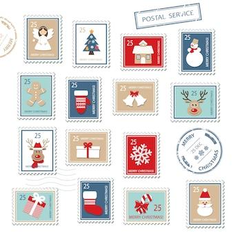 Sellos postales de navidad establecidos.