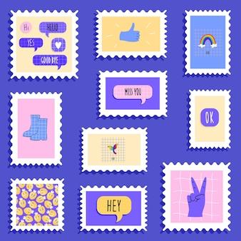 Sellos postales en estilo moderno de moda