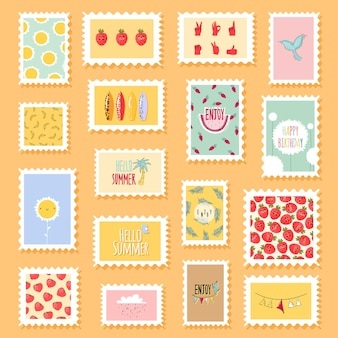 Sellos postales con flores y elementos de frutas lindas en estilo plano