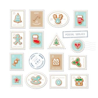Sellos postales de navidad conjunto aislado en blanco.
