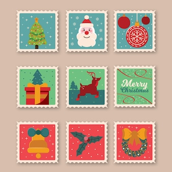 Sellos postales de navidad conjunto diseño plano aislado