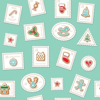 Sellos postales de navidad de fondo sin fisuras.