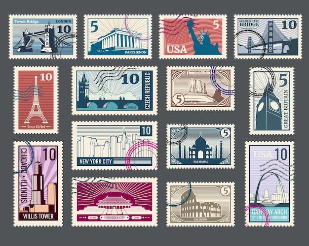 Sellos postales de viaje con arquitectura histórica y monumentos del mundo.
