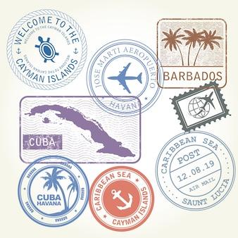 Sellos de viaje establecen tema del mar caribe