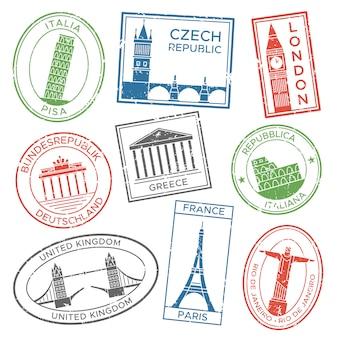 Sellos de viaje vintage para tarjetas postales con las atracciones de la arquitectura de los países de europa cultura del país viajes de viaje pegatina