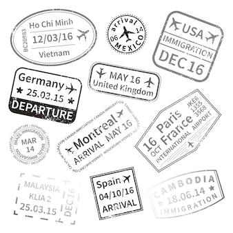 Sellos de visa de viaje internacional negro