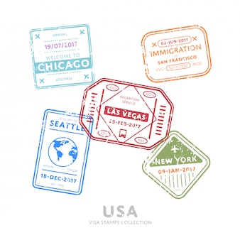Sellos de visa de viaje internacional.